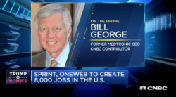 bill george on cnbc discussing trump taking credit for every job creation opportunity