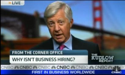 bill george on the kudlow report, asking why businesses aren't hiring