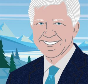 Illustration of Bill George in front of mountain range