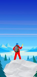 Graphic of mountain climber using compass looking over mountain range