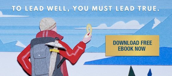 Bill George Lead True eBook graphic of mountain climber using compass