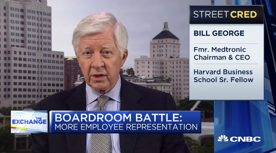 Bill George on CNBC discussing Sen. Elizabeth Warren's corporate board opinion.
